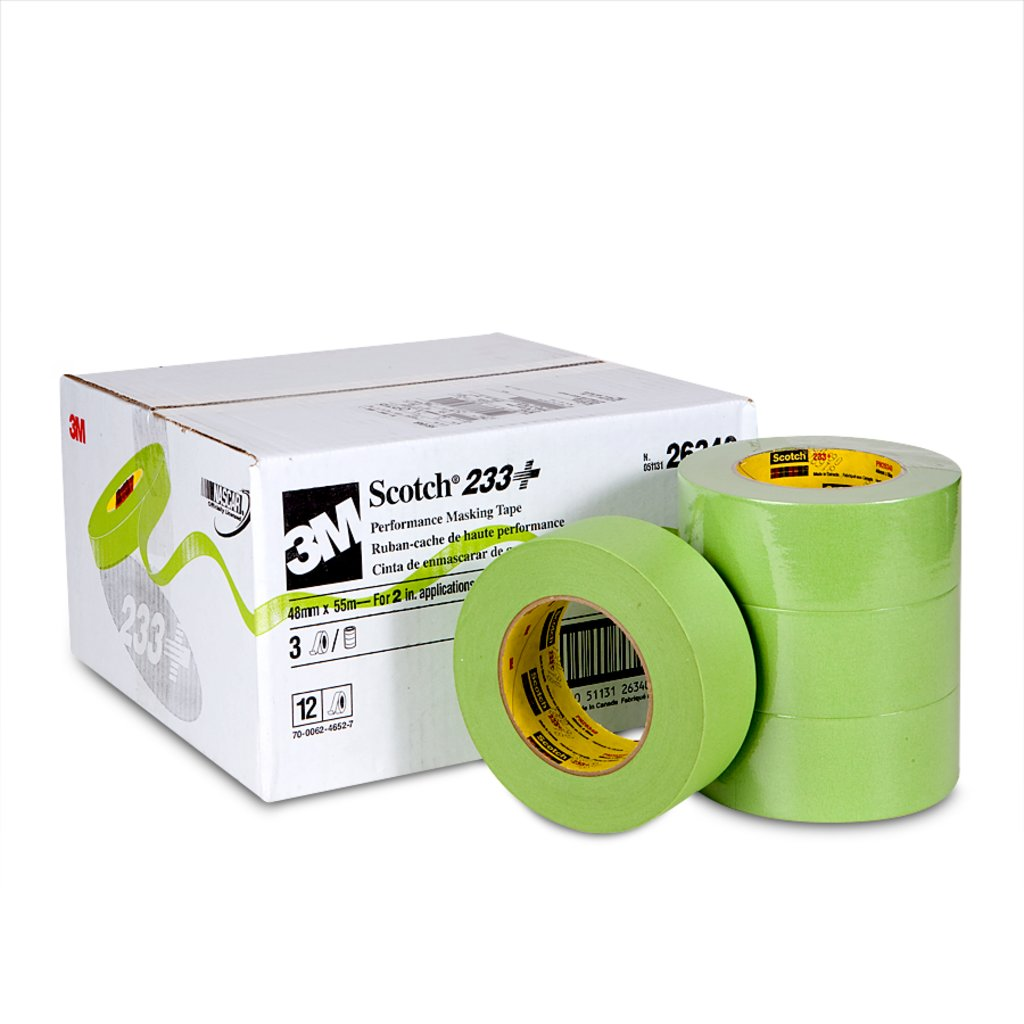 3M 233+48MMX55M-BULK TAPE MASKING PERFORMANCE ADHESIVE GREEN 180ft LENGTH, 1.89 WIDTH, 0.0067 INCH THICKNESS) cs=12