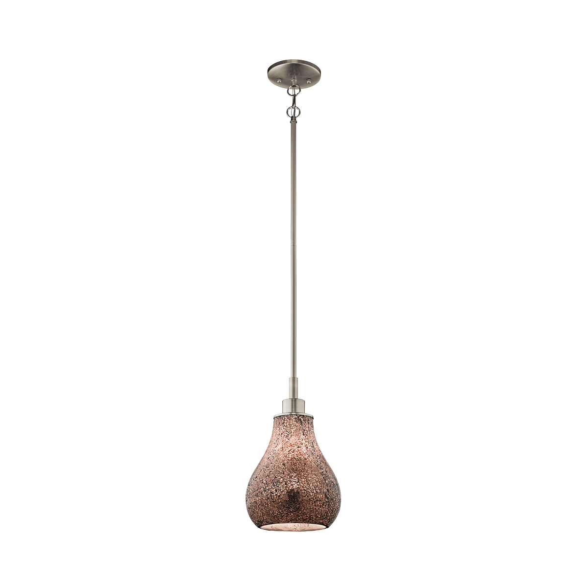 KIC 65406 One Light Brushed Nickel Down Mini Pendant 1X100Medium