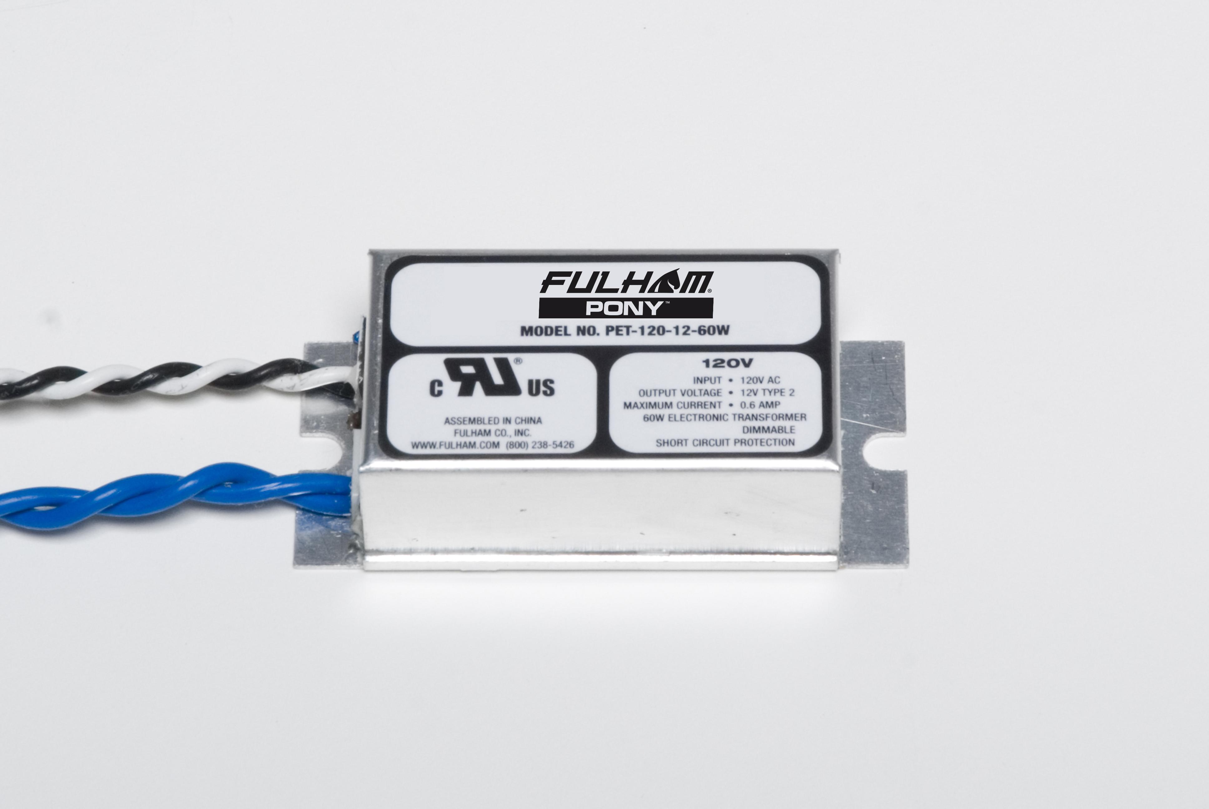 Fulham,PET-120-12-60,PONY Electronic Transformer - Low Voltage Step Down - 120V AC --> 12V DC - 60W