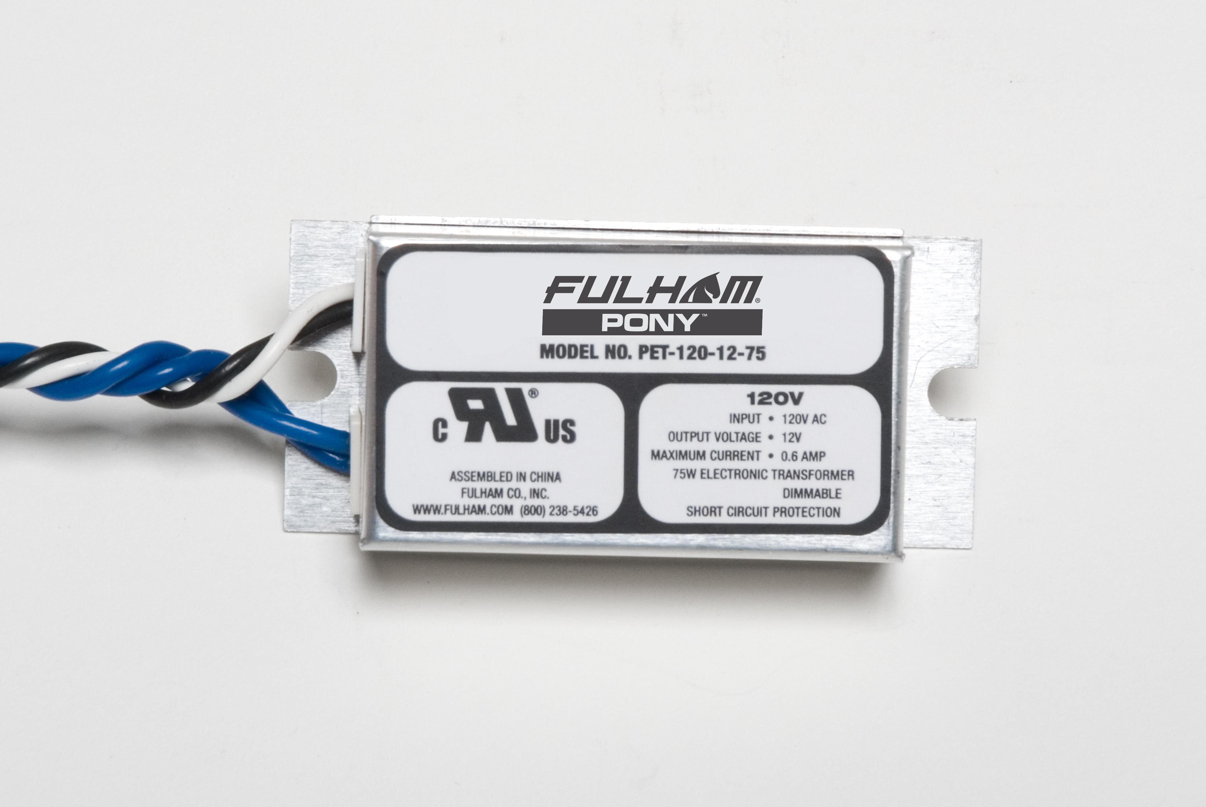 Fulham,PET-120-12-75,PONY Electronic Transformer - Low Voltage Step Down - 120V AC --> 12V DC - 75W