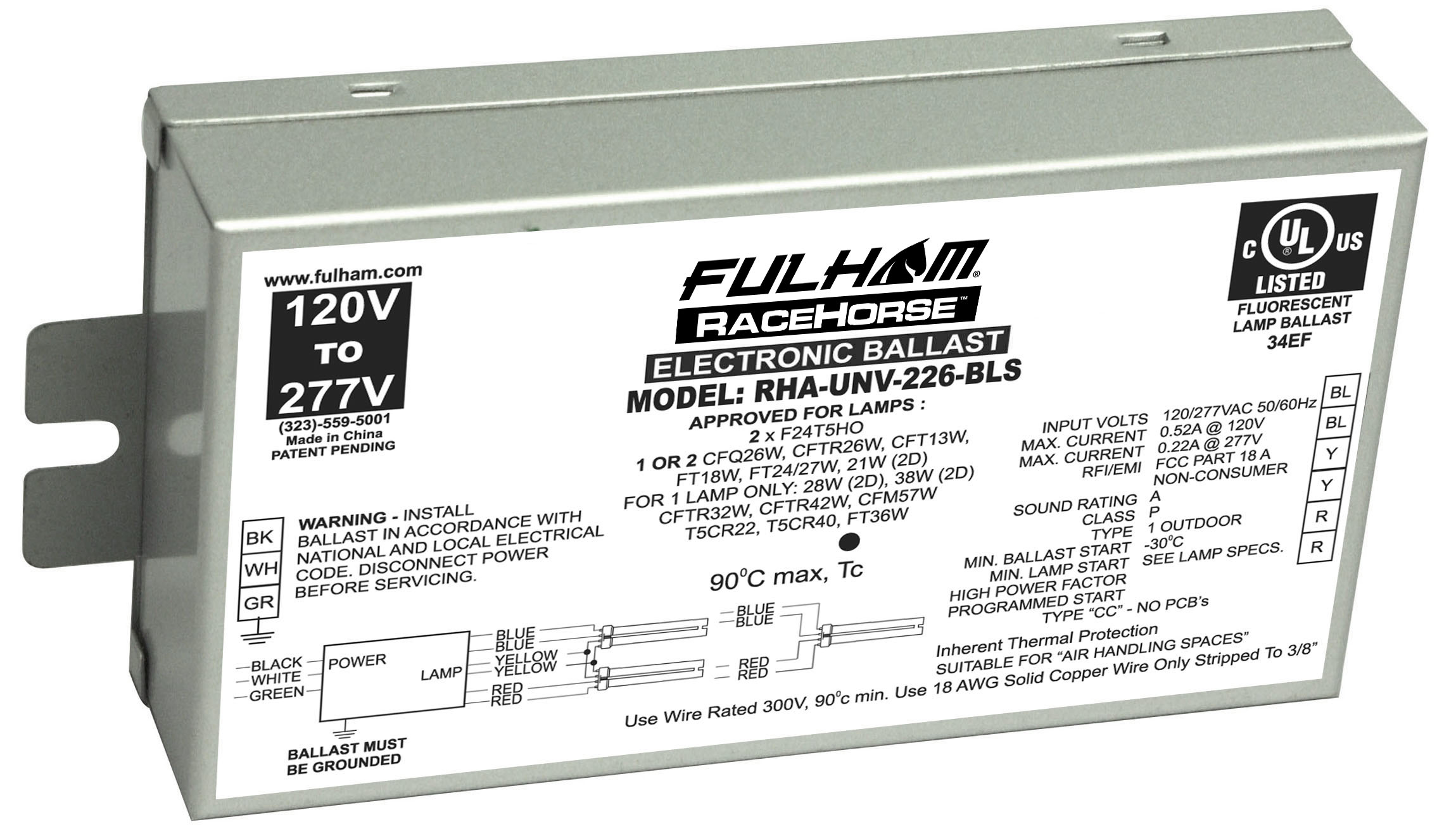 Fulham,RHA-UNV-226-BLS,RaceHorse A - CFL Ballast - Universal Voltage - (PS) - for 1 or 2 x 26W CFL's - BLS Model