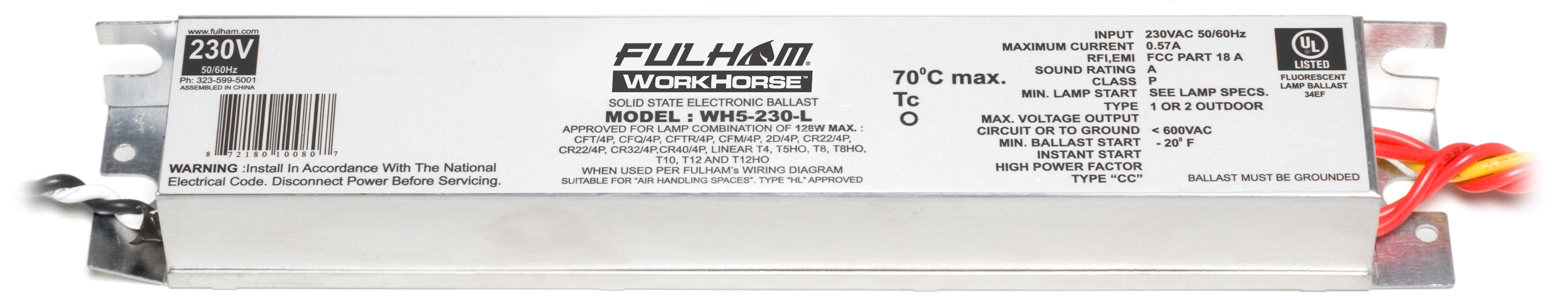 Fulham North Coast Electric 4 Light Rapid Start Ballast Wiring Diagram Fulhamwh5 230 Lworkhorse 5 230v Linear Model W