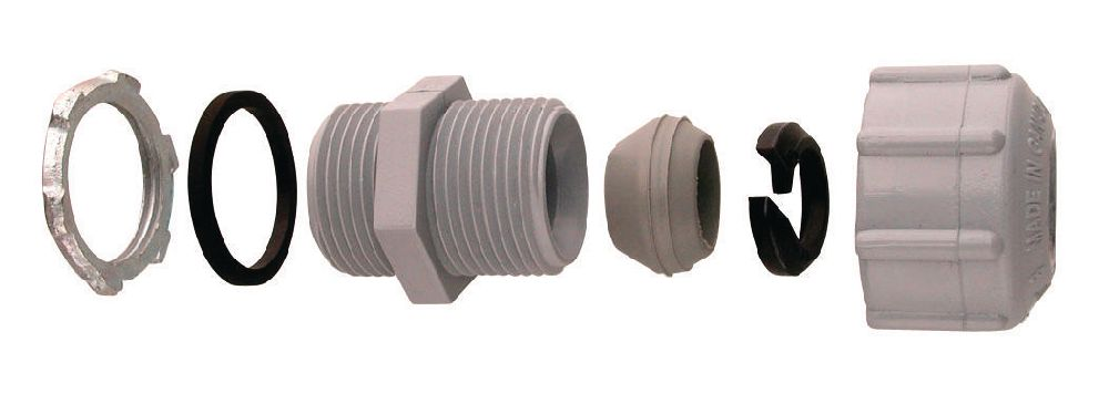 Multi Fittings Corp.,077754,Scepter® 077754 Threaded Strain Relief Connector, 1/2 in Trade, For Use With Scepter Rigid PVC Conduit, PVC