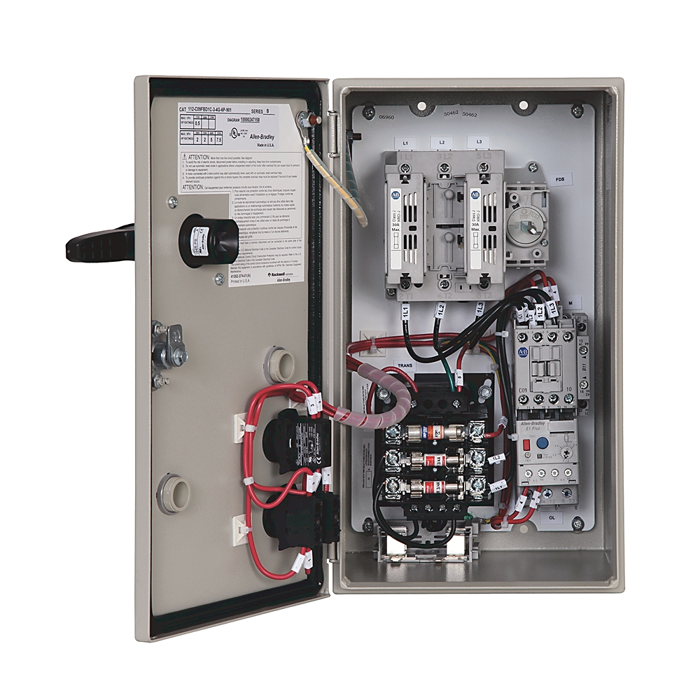 112-C09FBD1D AB BULLETIN 112 - IEC COMBINATION STARTER, FUSIBLE DISCONNECT TYPE, IP66 (TYPE 3/4/12 - METAL), 9 AMP, 460-480V 60HZ COMMON CONTROL