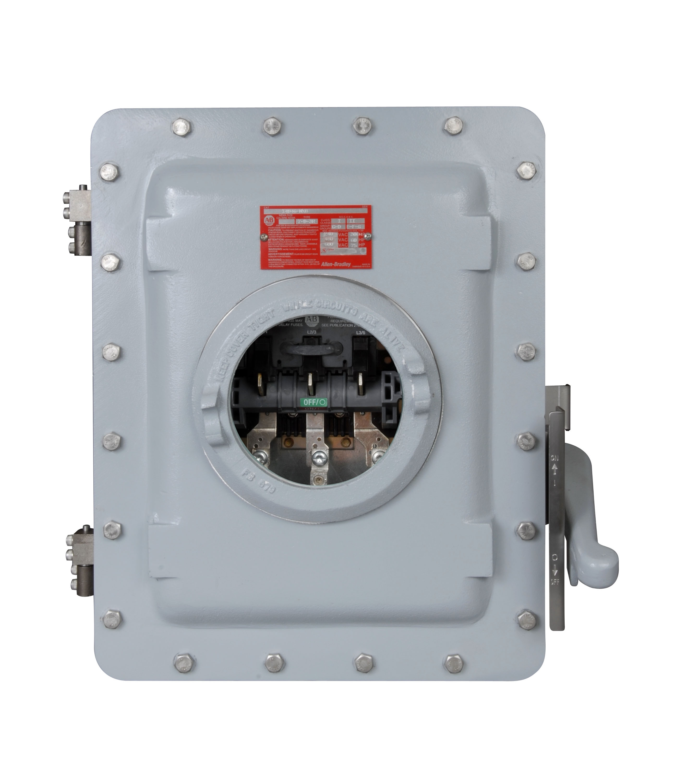1494G-NX8 Enclosed Disconnect Switch, Hazardous Location, 100A switch rating for use in 30, 60, and 100 A applications,Type 3R, 7 & 9 BOLTED ENCL, CLASS I, DIV. 1 & 2, GROUPS C & D, CLASS II, GROUPS E,F,G