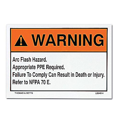 E-Z-Code,LB94913,WARNING ARC FLASH HZD LBL 3-1/2 X10
