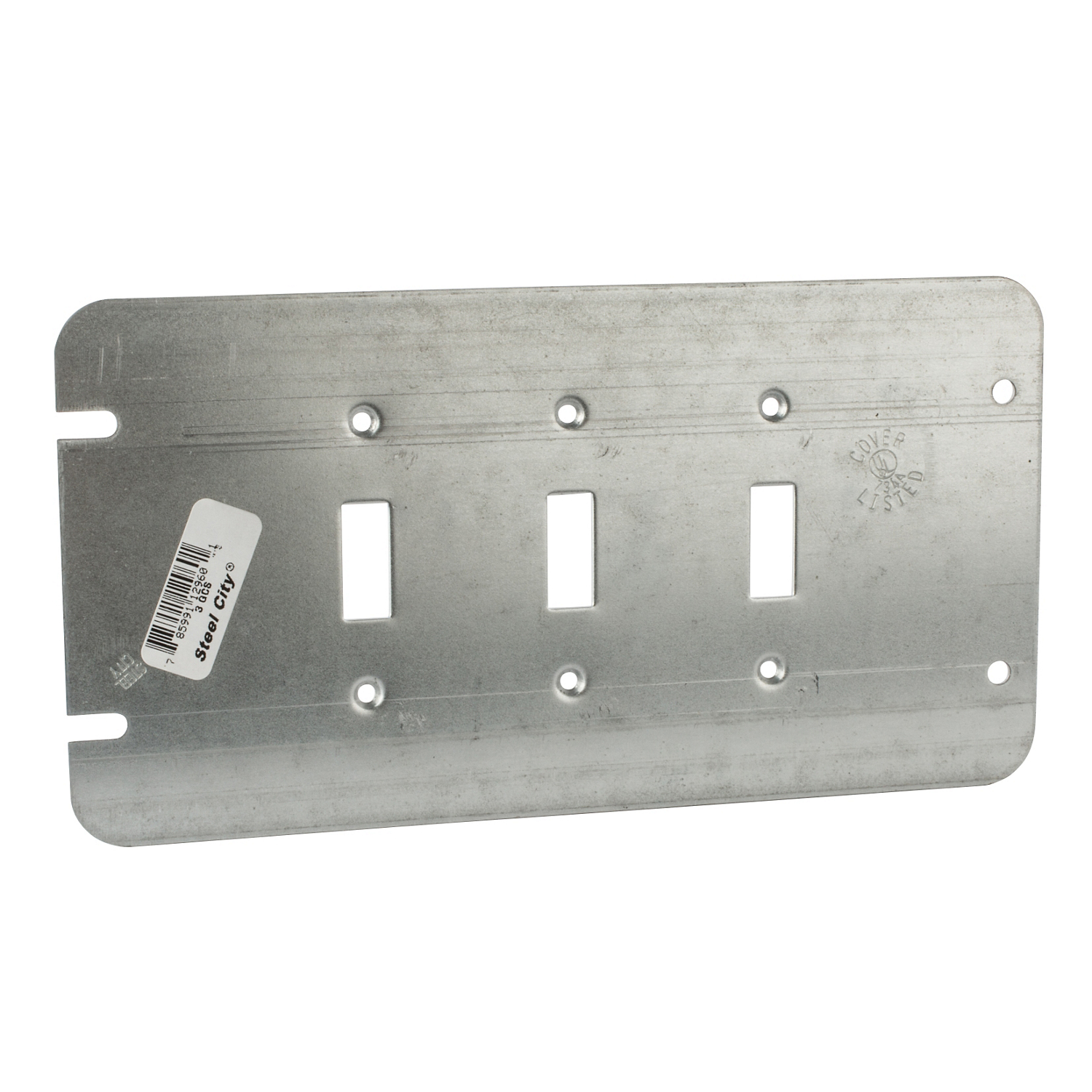 Steel City,3-GCS,Steel City® 3-GCS Outlet Box Cover, 8-13/16 in L x 4-11/16 in W, Steel