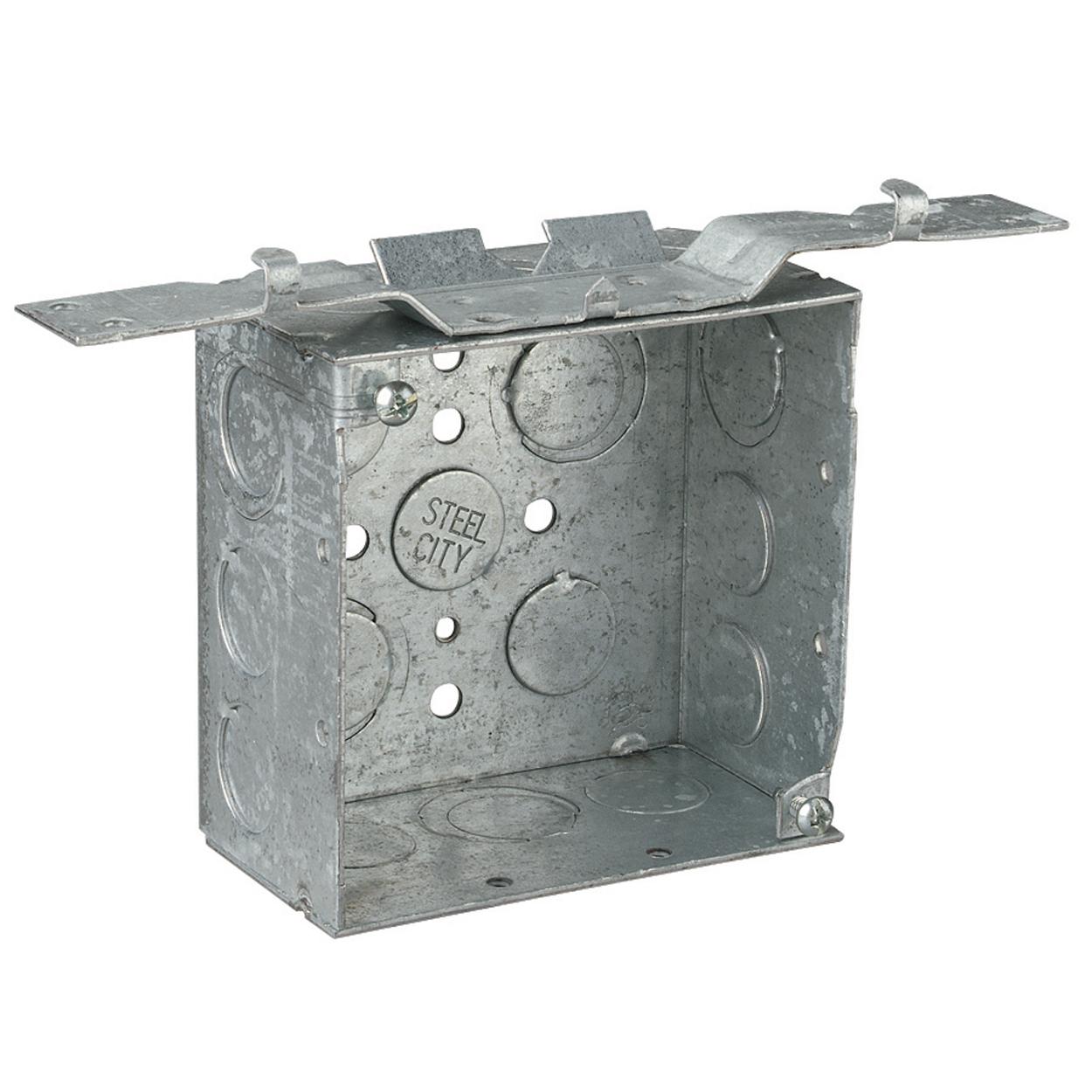 STEEL-CITY 52171V-1/2&3/4 4-IN SQUARE BOX, STEEL, 30.3CU, .5&3/4E-KO