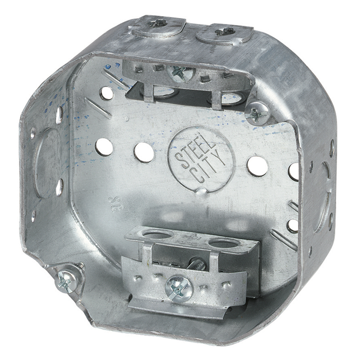 Steel City® 54151-A Drawn Style Octagon Ceiling Box, Steel, 15.8 cu-in Capacity, 1 Outlets, 2 Knockouts, 1-1/2 in D