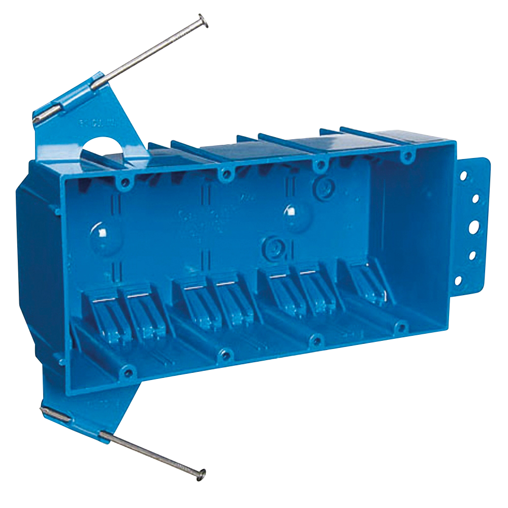 CARB455A-UPC 4G NAIL-IN PVC BOX (25 PER BOX;Carlon® B455A-UPC New Work Outlet Box, PVC, 60 cu-in Capacity, 4 Gangs