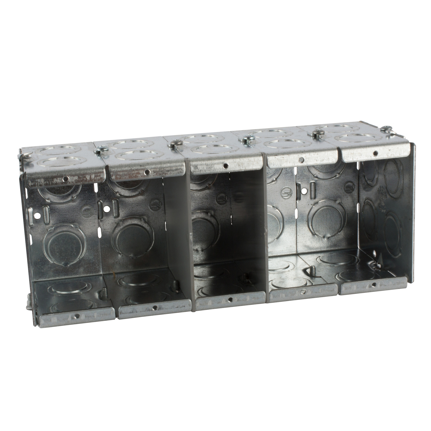 STCGW535G STL-CTY GW535-G 3-1/2D 5G MASO;Steel City® GW-535-G Gangable Masonry Box, Steel, 111.7 cu-in Capacity, 5 Gangs, 1 Outlets, 24 Knockouts