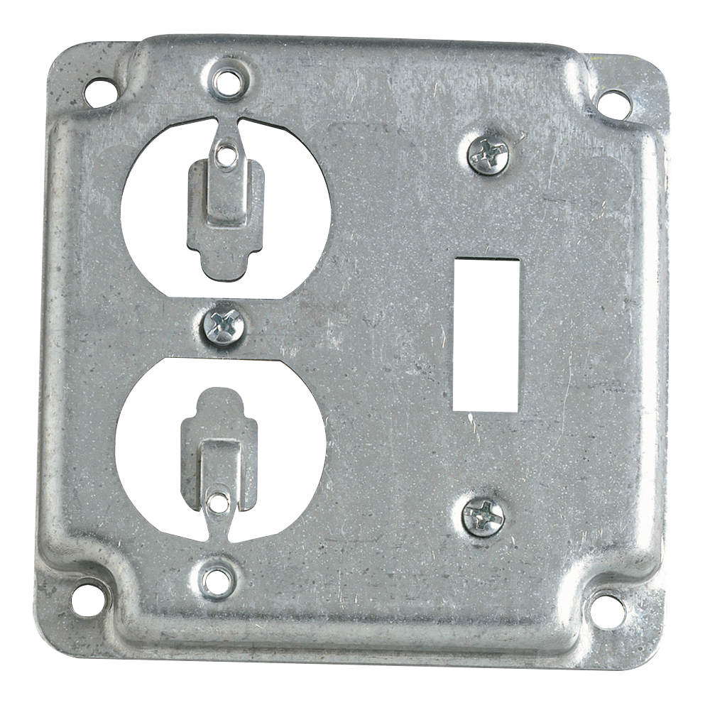 STEEL-CITY RS2 4-IN SQUARE SURFACE COVER 5CU DUPLEX+TOGGLE 1/2 RAISED