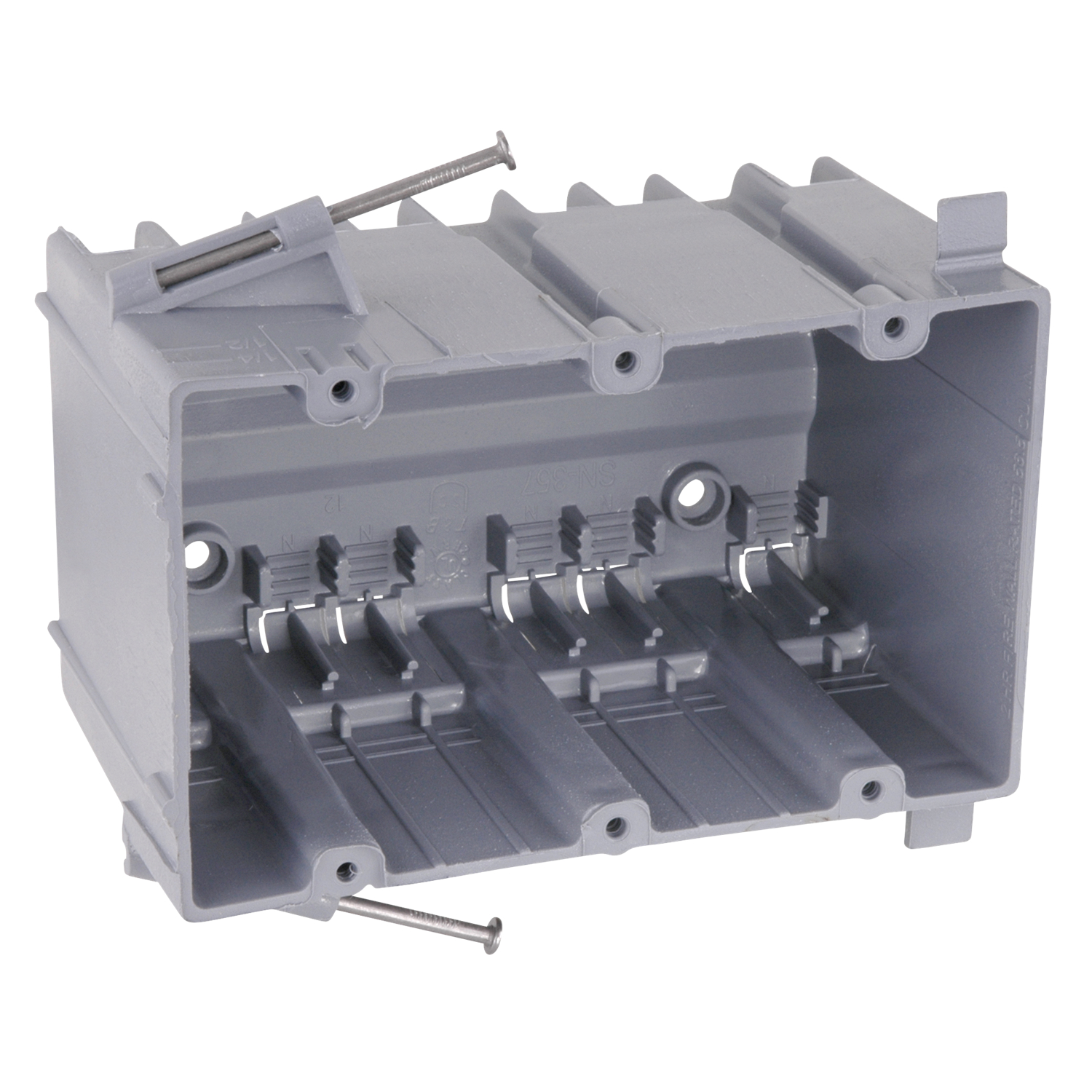 CARSN-357 CARLON SN-357 3-GANG SW BOX W/ ANG SIDE;Carlon® SN-357 New Work Outlet Box With 3/8 in Offset Wallboard Tabs and Molded Fast Clamp, PVC, 56.5 cu-in Capacity, 3 Gangs