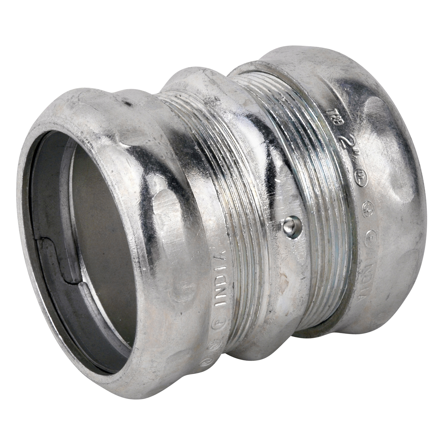Steel City,TK116A,Steel City® TK116A Compression Thinwall Coupling, 2 in, For Use With EMT Conduit, Steel, Zinc Plated