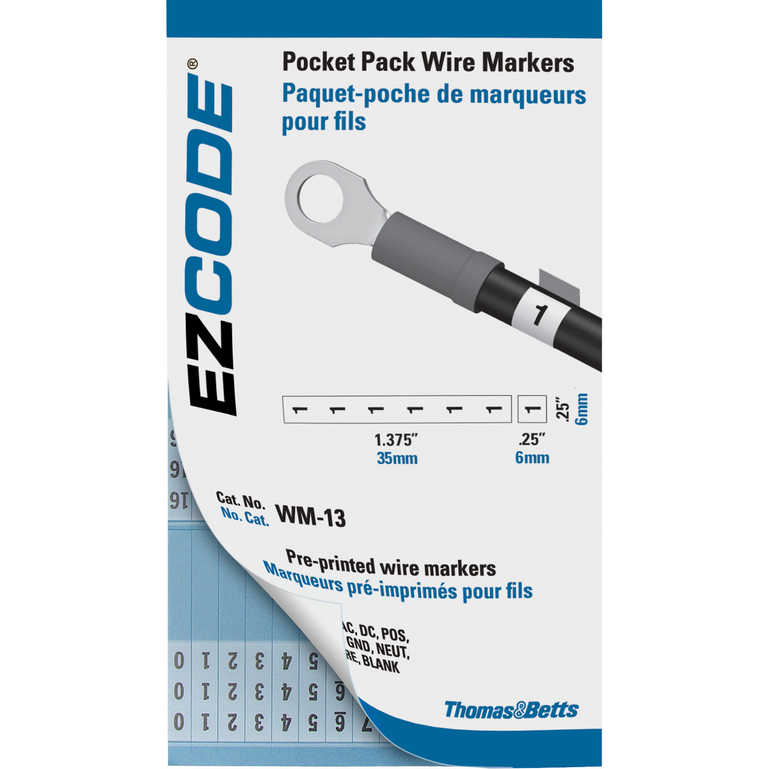 E-Z-Code,WM-0-90,E-Z Code® WM-0-90 Pre-Printed Wire Marker Book, 5 in L x 3 in W, 0 - 45, 46 - 90 Legend, Vinyl Cloth