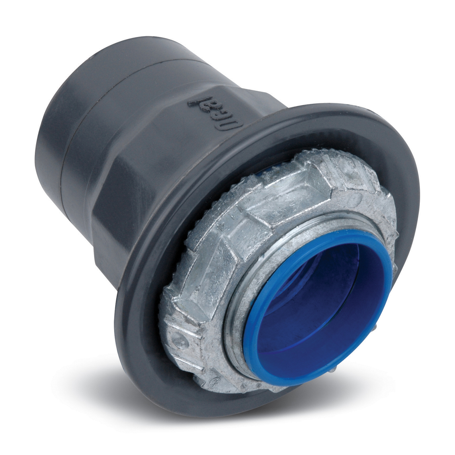Ocal® Ocal-Blue™ HUB3/4-G Knockout Hub With Thermoplastic Insulated Throat, 3/4 in, For Use With Conduit Body and Fitting, Zinc, PVC Coated