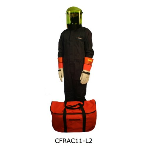 CEM CFRCA12-L ARC FLASH COVERALL KIT - (SZ LARGE COVERALLS/HARD HAT W/ FACE SHIELD/BALACLAVA/STORAGE BAG) (CALORIE RATING 12)