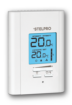ste STE302R2W+ STELPRO ELECT THERMOSTAT RELAY NON PROG DOUBLE POLE BACKLIGHTED 3000W 240V WHITE