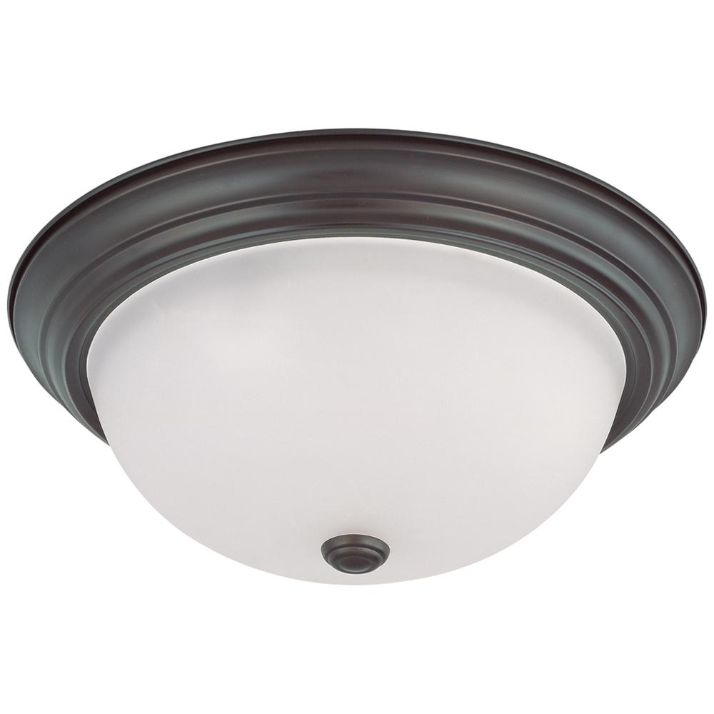 Satco,60/3147,SATCO® Nuvo™ Flush Mount Light, 3 A19 Incandescent Lamp, 120 VAC, Bronze Housing