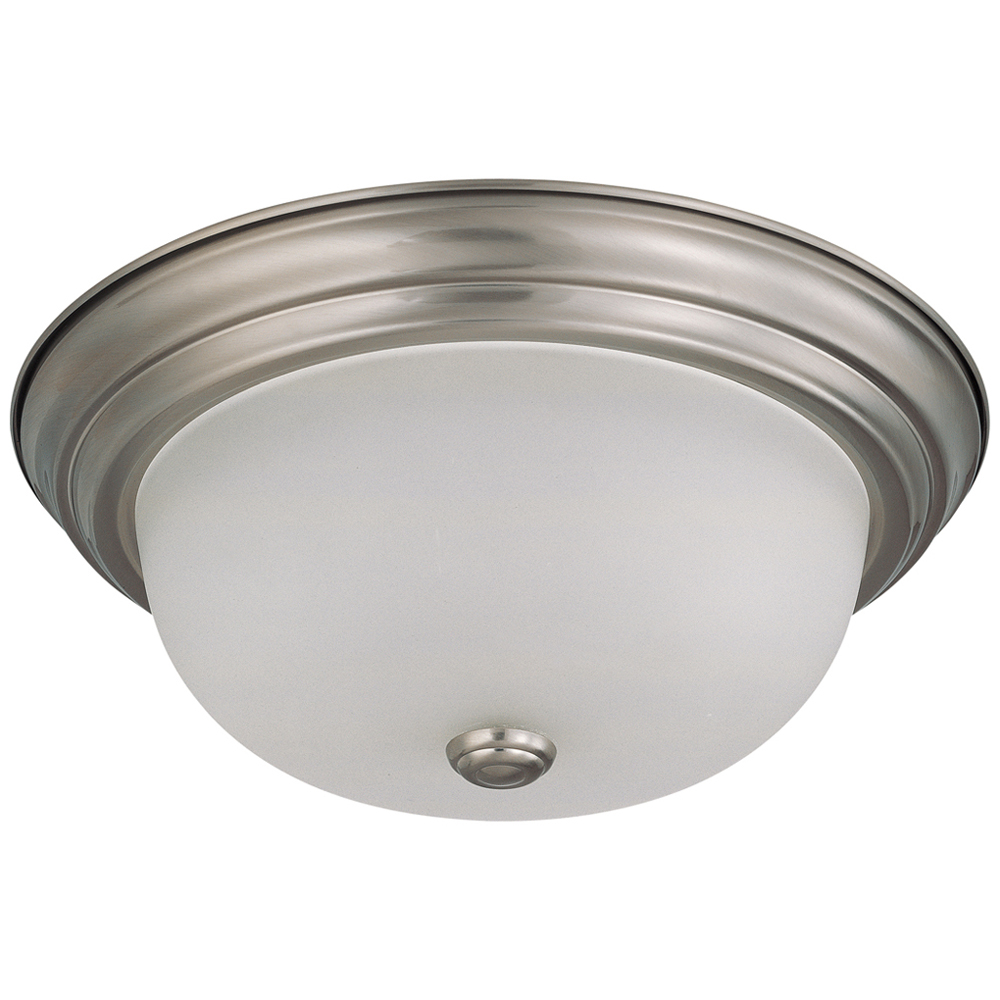 Satco,60/3262,SATCO® Nuvo™ Flush Mount Light, 2 A19 Incandescent Lamp, 120 VAC, Brushed Nickel Housing