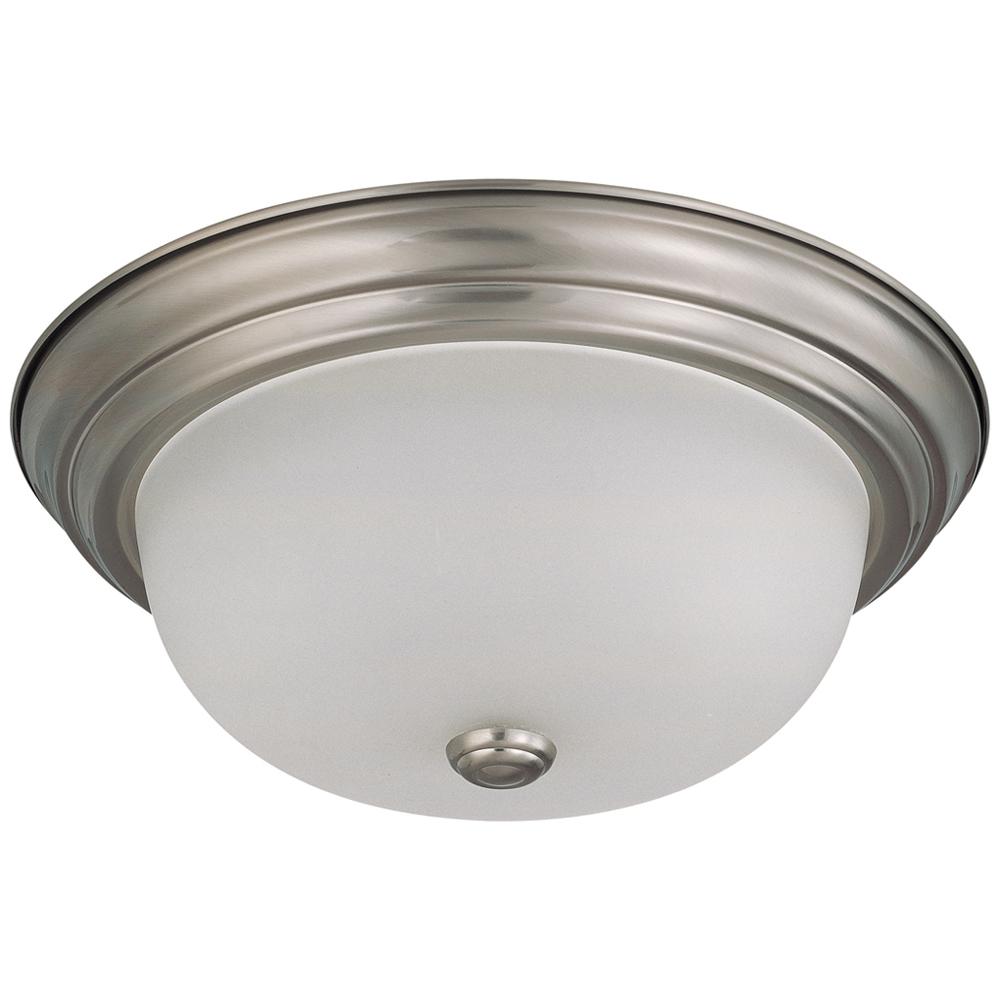 Satco,60/3312,SATCO® Nuvo™ Flush Mount Light, 2 Fluorescent Lamp, 120 VAC, Brushed Nickel Housing