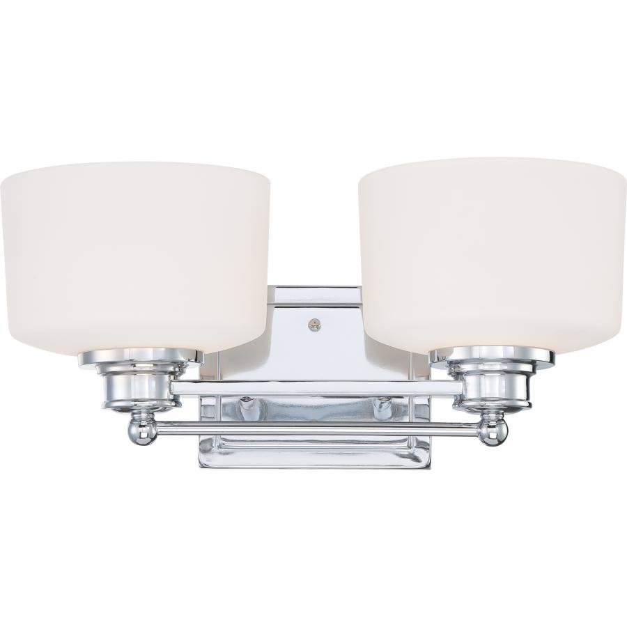 Nuvo,60/4582,NUVO® by SATCO Soho Contemporary Vanity Light Fixture, 2 A19 Incandescent Lamp, 120 VAC, Polished Chrome Housing