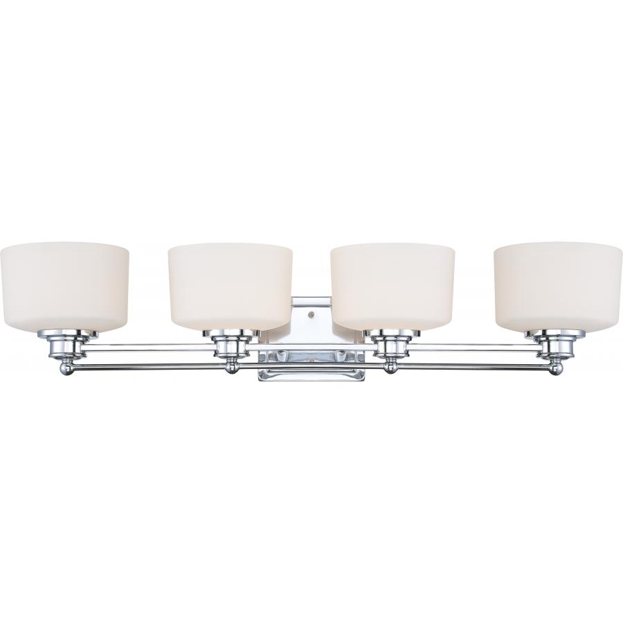 Nuvo,60/4584,NUVO® by SATCO Soho Contemporary Vanity Light Fixture, 4 A19 Incandescent Lamp, 120 VAC, Polished Chrome Housing