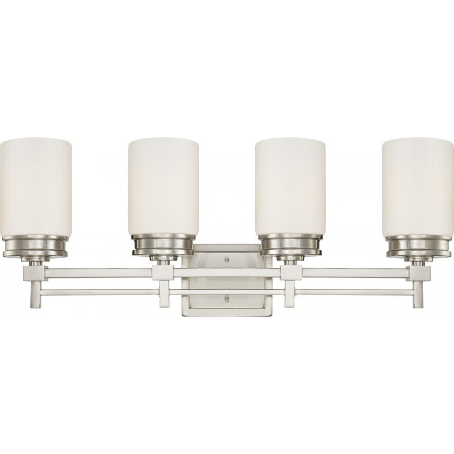 Nuvo,60/4704,NUVO® by SATCO Wright Contemporary Vanity Light Fixture, 4 A19 Incandescent Lamp, 120 VAC, Brushed Nickel Housing