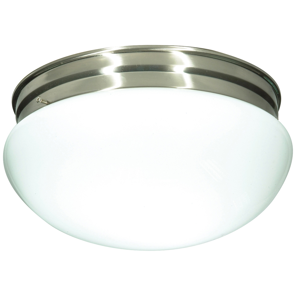 Satco,76/605,NUVO® by SATCO® 76-605 Large Traditional Ceiling Light, 2 A19 Incandescent Lamp, 120 VAC, Brushed Nickel Housing