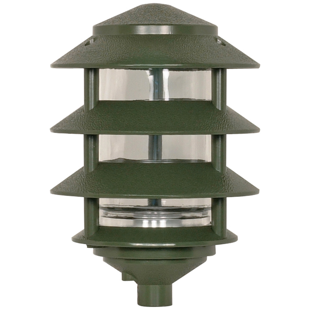 Satco,77/324,NUVO® by SATCO 77-324 4-Tier Landscape Traditional Path Light, 1 A19 Incandescent Lamp, 100 W Fixture, Green Housing
