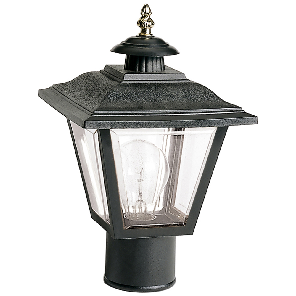 Satco,77/898,NUVO® by SATCO 77-898 Traditional Coach Post Lantern With Brass Trimmed Acrylic Panels, 60 W, Medium