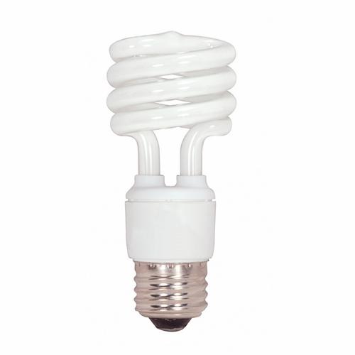 Satco,S7217,SATCO® S7217 Mini Spiral Compact Fluorescent Lamp, 13 W, CFL Lamp, E26 Lamp Base, T2 Shape, 900 Lumens