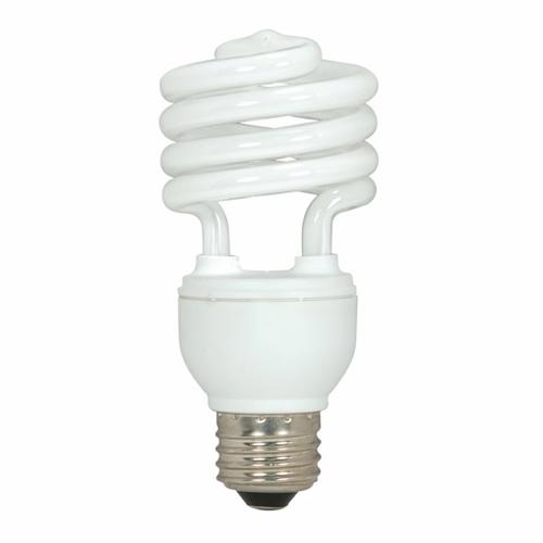 Satco,S7224,SATCO® S7224 Mini Spiral Compact Fluorescent Lamp, 18 W, CFL Lamp, E26 Lamp Base, T2 Shape, 1140 Lumens