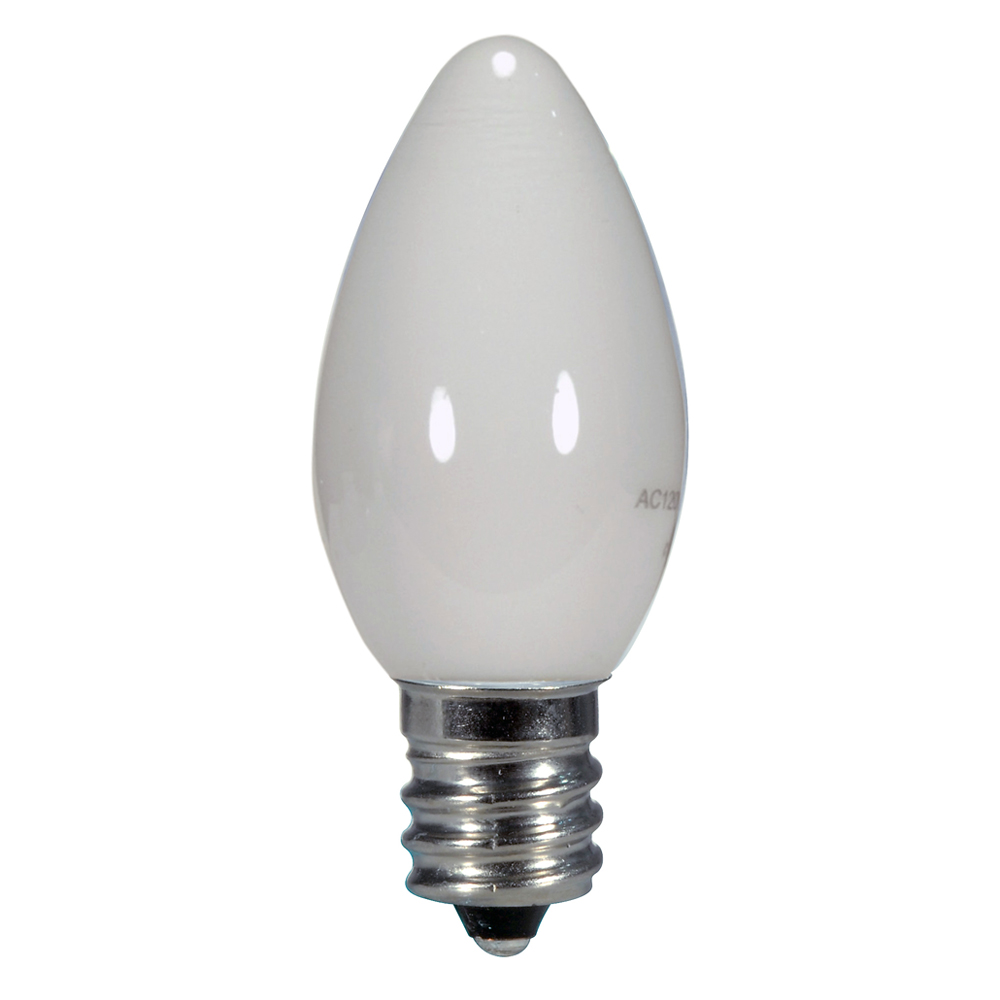 Satco,S9157,SATCO® S9157 Non-Dimmable LED Specialty Lamp, 0.5 W, LED Lamp, E12 Candelabra Lamp Base, C7 Shape, 14 Lumens Initial