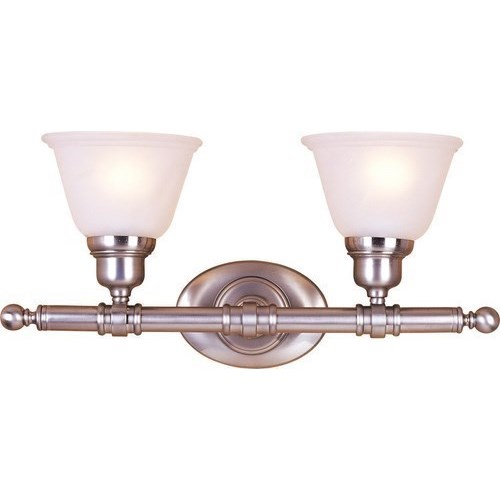 MAX 7142FTSN Two Light Satin Nickel Frosted Glass Vanity 2X100M