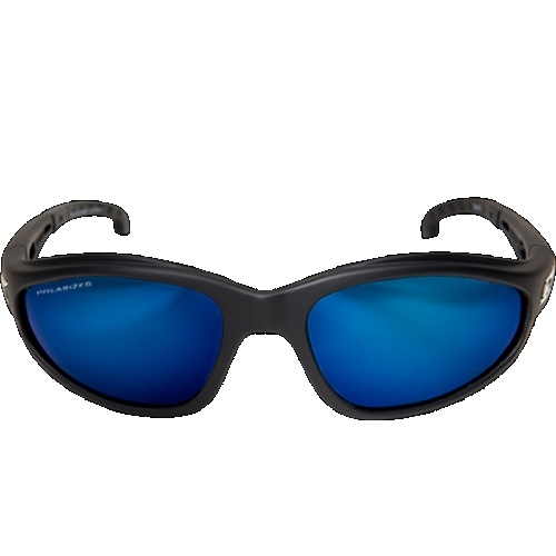 TSMAP218 WOLF PEAK DAKURA SAFETY GLASSES BLACK W/POLARIZED AQUA PRECISION BLUE MIRROR LENS