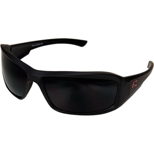 EDGE TXB236 BRAZEAU TORQUE MATTE BLACK FRAME W/RED E LOGO PLOARIZED SMOKE LENSES SAFETY GLASSES