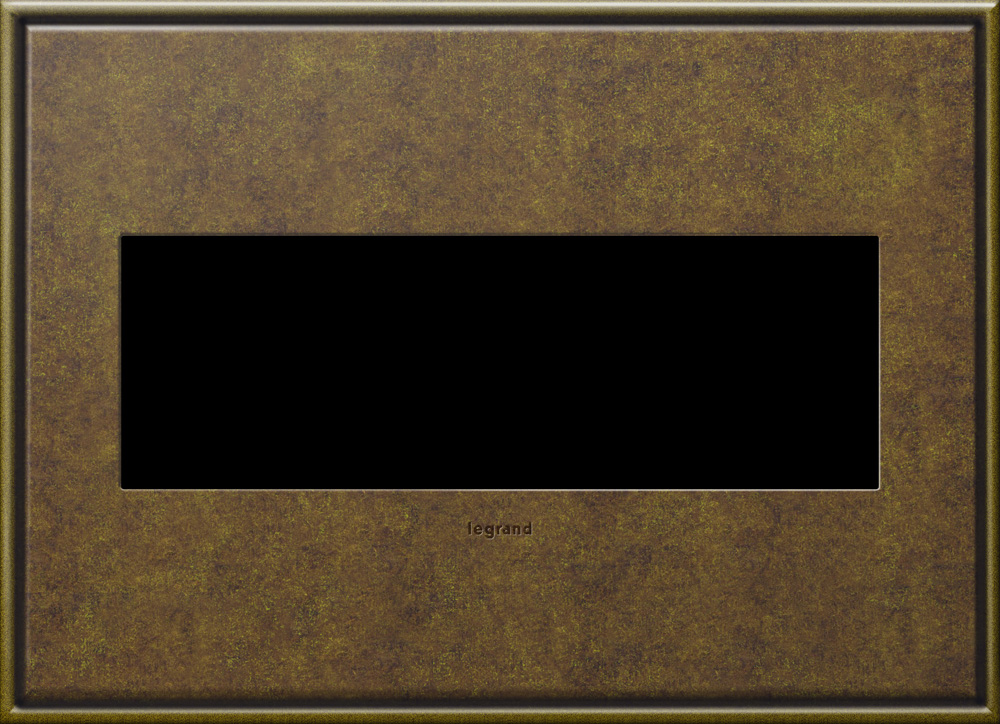 Pass & Seymour AWC3G-AB4 3-Gang 2-Module Wall Plate - Aged Brass