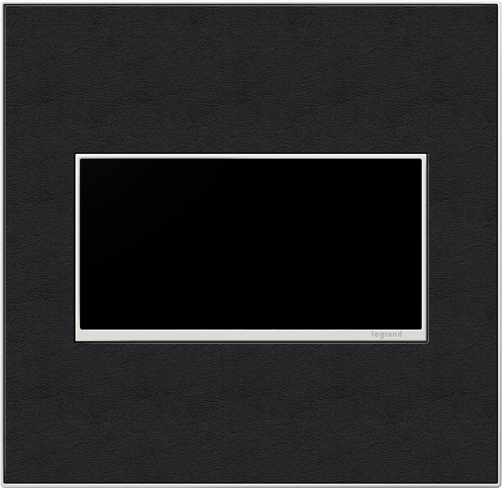 Pass & Seymour AWM2G-LE4 2-Gang 2-Module Wall Plate - Black Leather