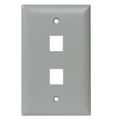 Legrand-On-Q,WP3402-GY,1 GANG WALL PLATE, 2-PORT, GY