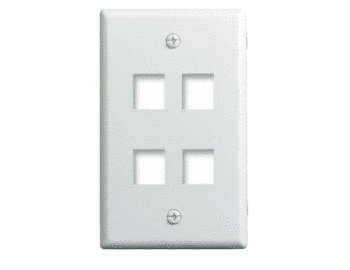 P&S WP3404-WH 1G WALL PLATE 4-PORT WH (M10)