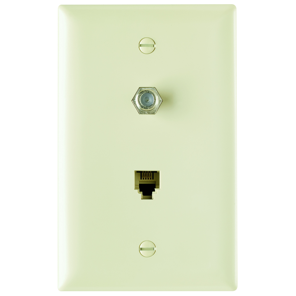 P&S TPTELTV-I NYLON IV (1) 4 CONDUCTOR TELEPHONE JACK AND (1) F CONNECTOR COAX IVORY PLATE PHONE TV
