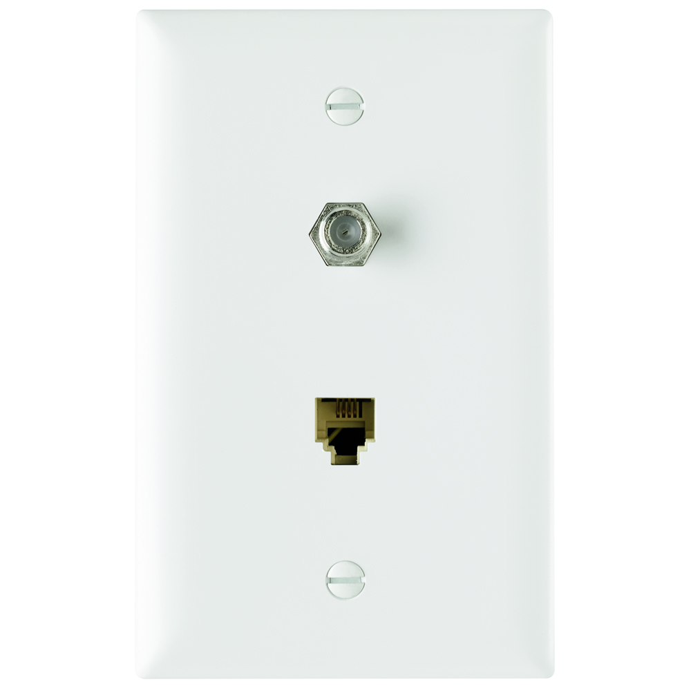 P&S TPTELTV-W NYLON WHT (1) 4 CONDUCTOR TELEPHONE JACK AND (1) F CONNECTOR COAX WHITE PLATE PHONE TV