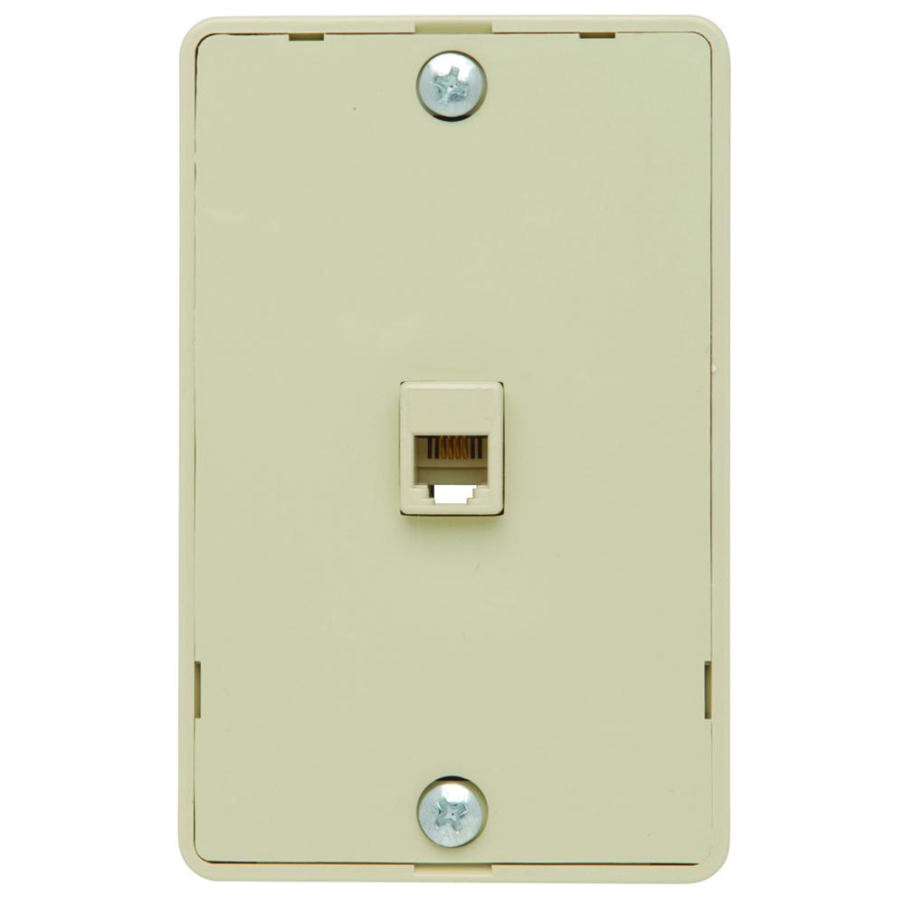 P&S WMTE14-I IV WALL MTD 4 CONDUCTOR TELEPHONE JACK IVORY PLATE PHONE