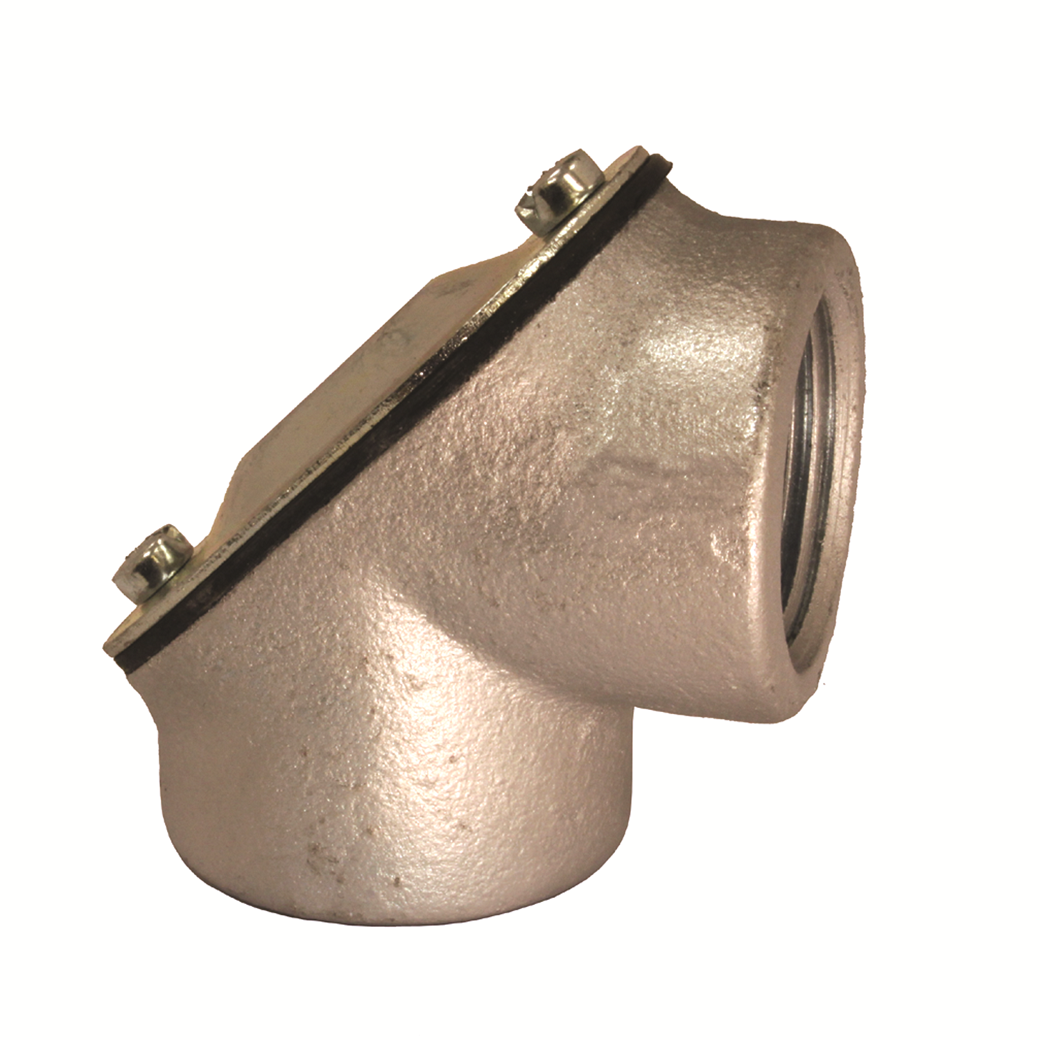 Konkore Fittings PEF-100KON Female x Female Pull Elbow With Steel Cover, Neoprene Gasket, 1 in Trade, 90 deg, Malleable Iron, Zinc Plated