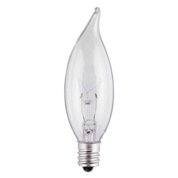 ABC 03673 15W CA8 FLAME TIP INCANDESCENT CLEAR E12 (CANDELABRA) BASE 130V CS=25/200