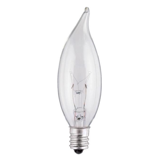 ABC 03674 25W CA8 FLAME TIP INCANDESCENT CLEAR LAMP E12 (CANDELABRA) BASE 130V CS=25/200
