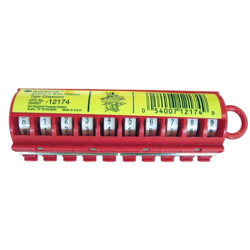 3M,STD-0-9,Wire Marker Tape Dispenser: Numbers 0-9 - 25/case