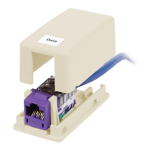 HUBPR ISB1EI HOUSING, SURFACE MOUNT, 1 PORT, EI 1 port surface mount box electric ivory